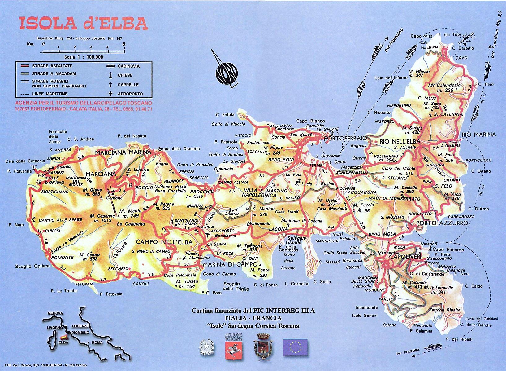 Cartina Elba.Cartina Morfologica E Stradale Dell Isola D Elba Elba Explorer